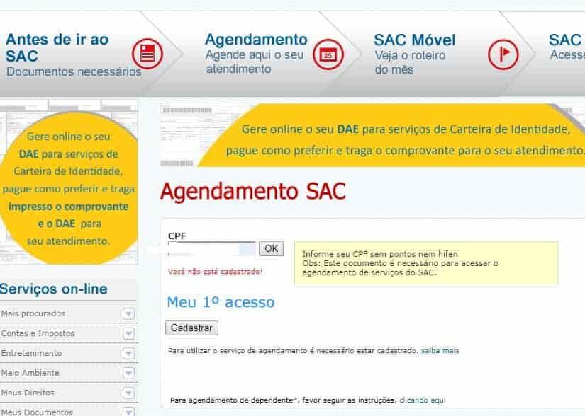 Agendamento SAC
