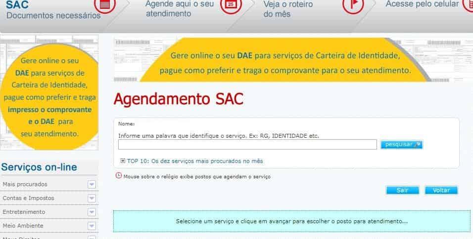 Tirar identidade SAC Agendamento
